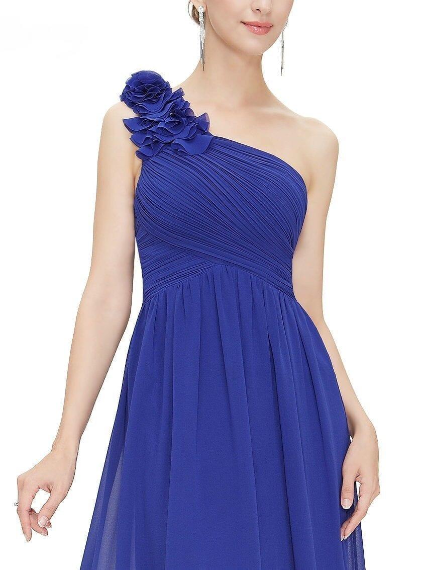 One Shoulder Floral Padded Chiffon Bridesmaid Dress