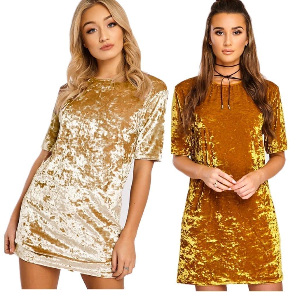 Short Sleeve Velvet Short Casual Dress