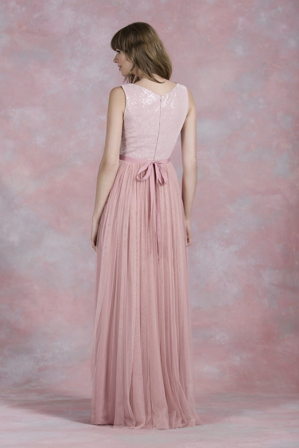 Nude Pink Sequined A Line Zipper Back Long Tulle Bridesmaid Dress