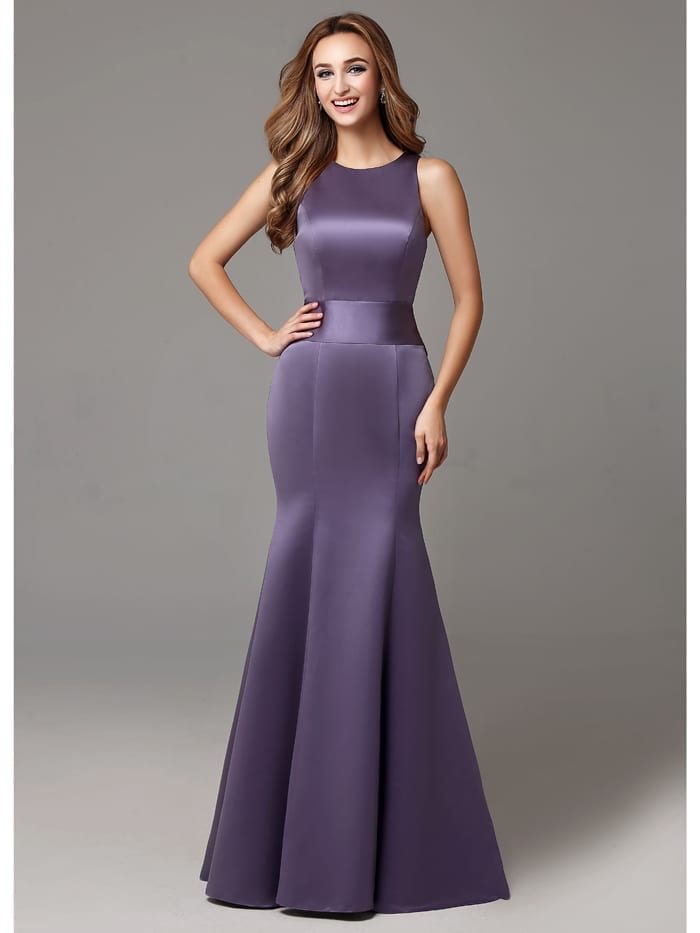 Sleeveless High Neck Big Bows Sweep Train Long Bridesmaid Dress