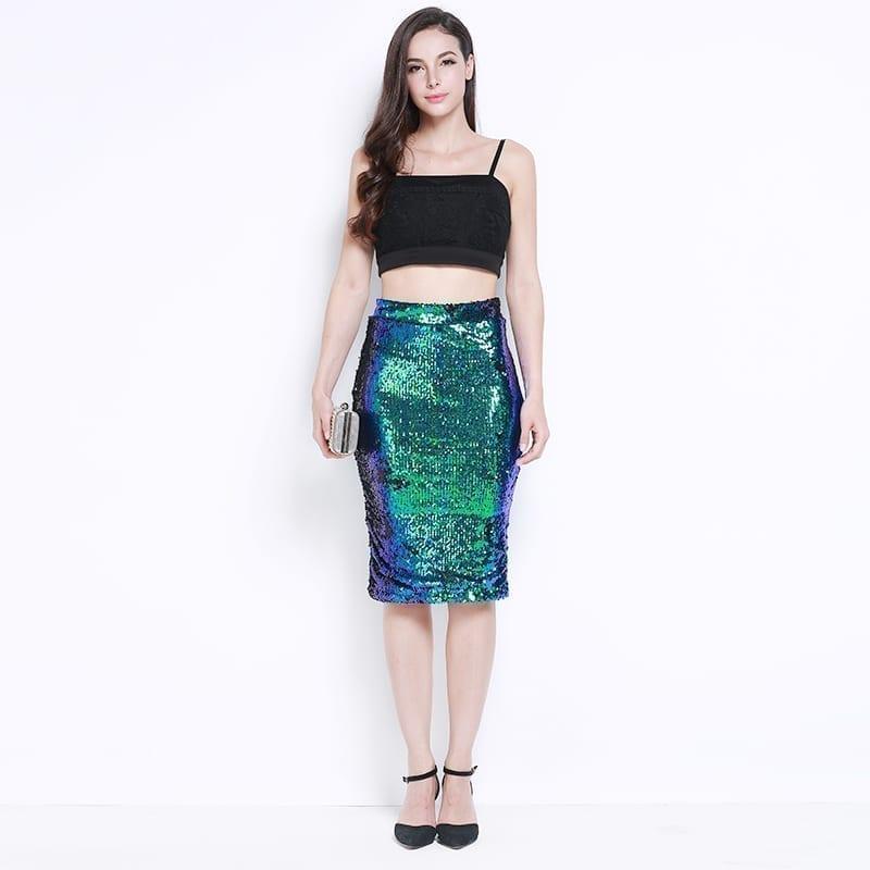 High Waist Sequined Bodycon Pencil Midi Length Skirt