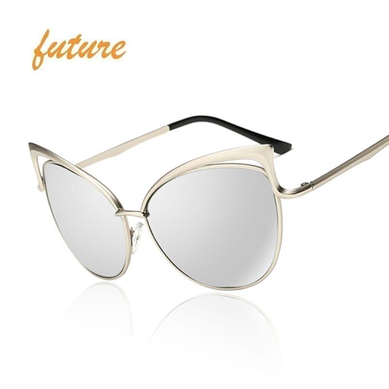 Vintage Cat Eye Twin-beam Mirror Sunglasses