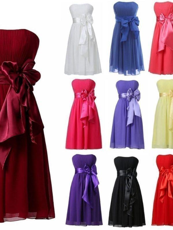 Chiffon Knee Length Short Bridesmaid Dress