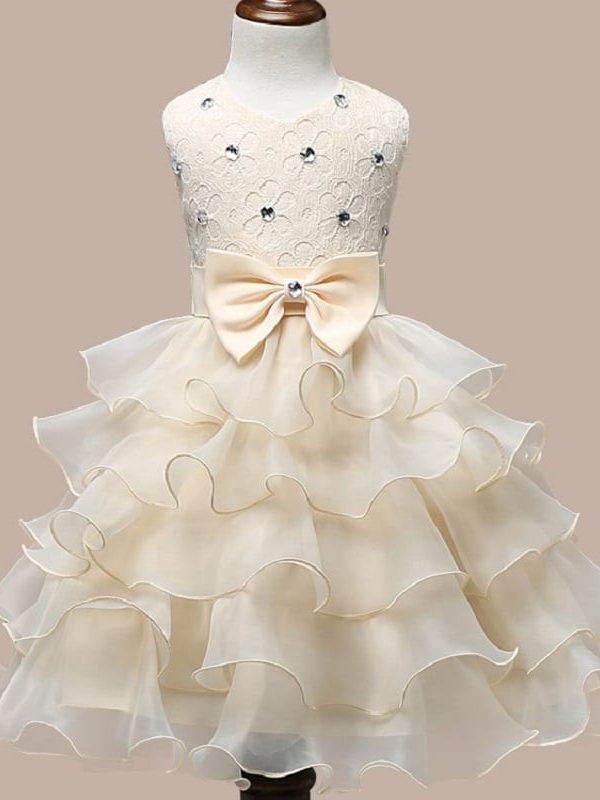 0-7 Years Mutlti Layer White Pink Flower Girl Dress