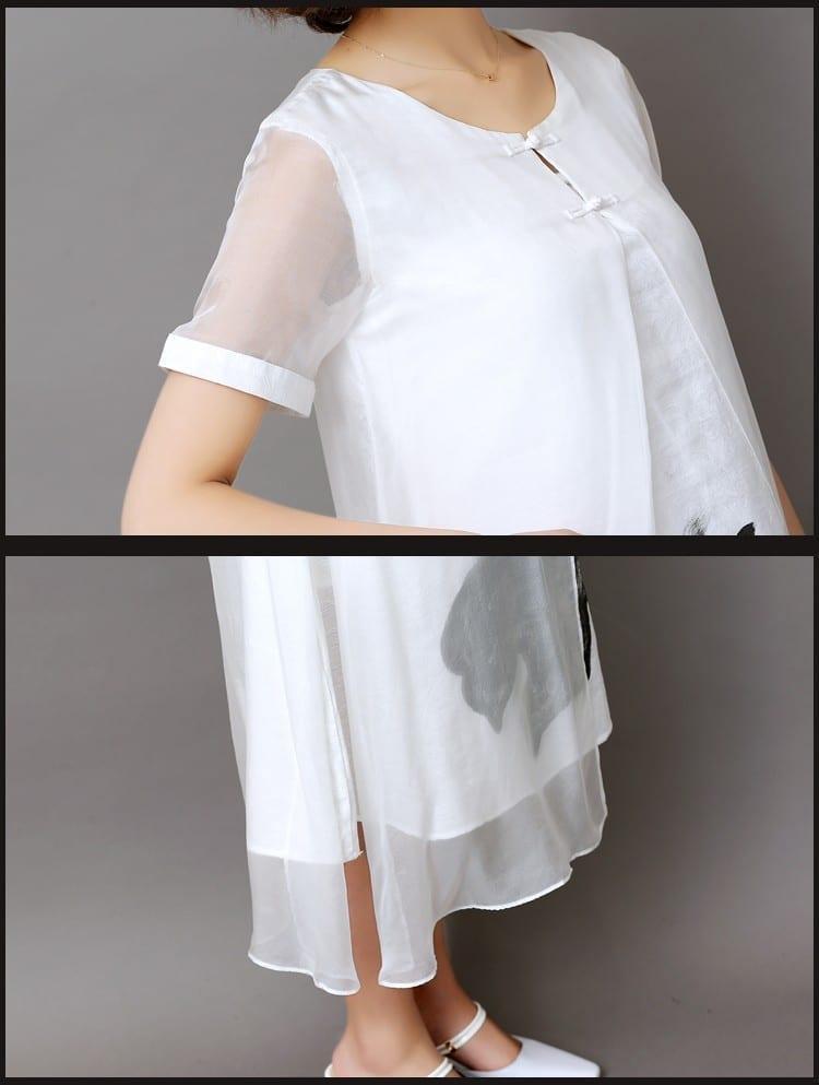 Ink Print Long Retro Short Sleeve Cotton Linen Dress