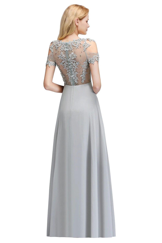 Scoop Neck Applique Chiffon Long Bridesmaid Dress