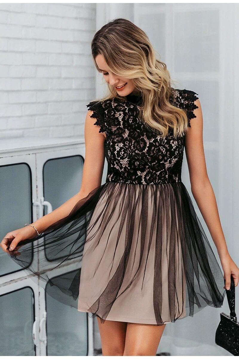 Elegant Black Sleeveless Floral Lace Dress