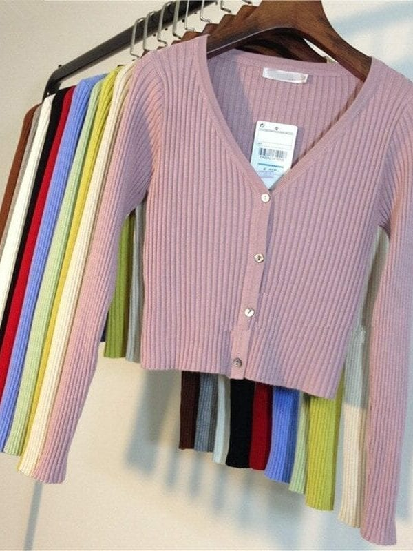 Patchwork Knitted Long Sleeve Cardigan Sweater