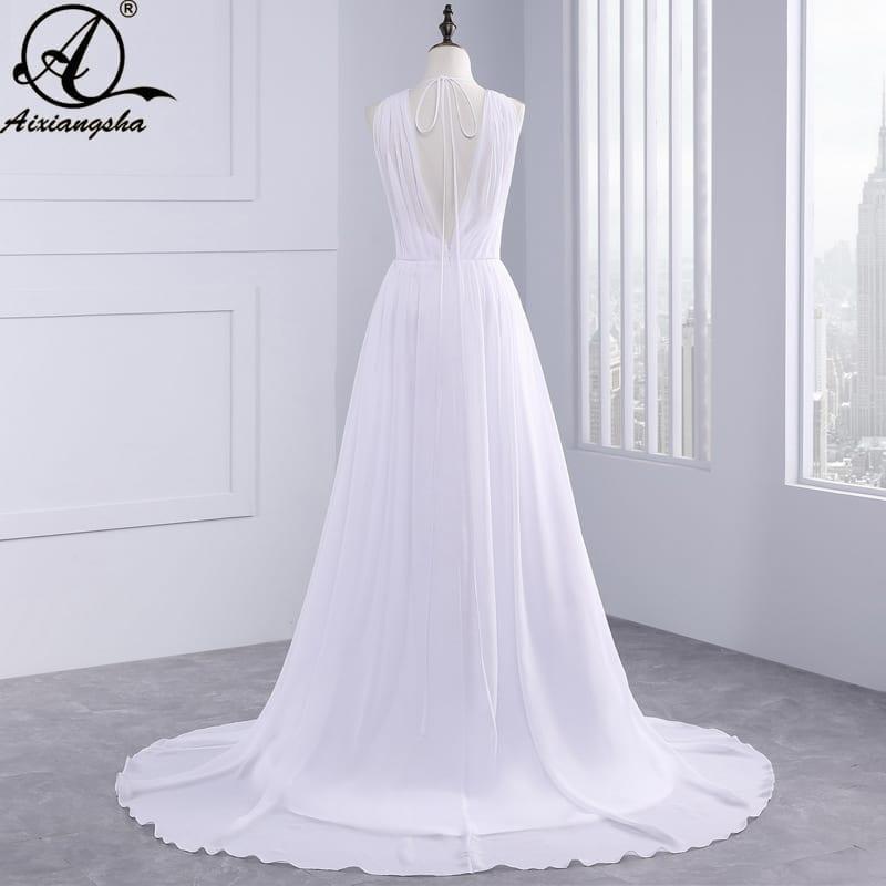 Greek Style Chiffon Open Back Sleeveless Floor Length Wedding Dress
