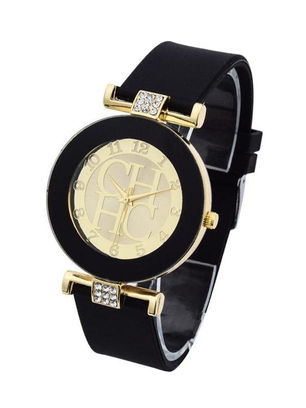 Gold Crystal Silicone Geneva Quartz Watch