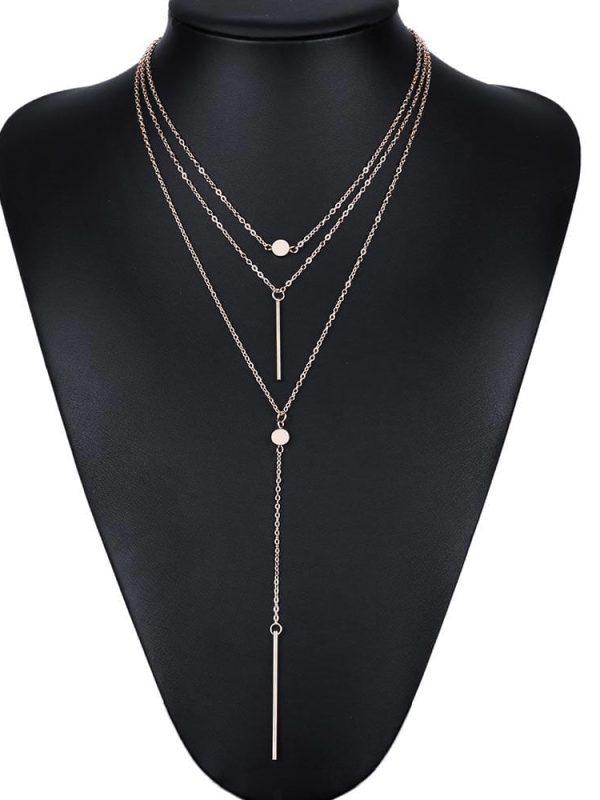 3 Multi Layer Tassel Charm Bar Statement Necklace