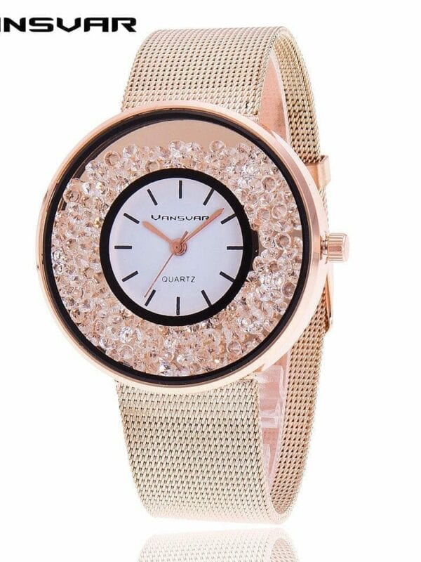 Stainless Steel Rose Gold & Silver Rhinestone Wrist Watch