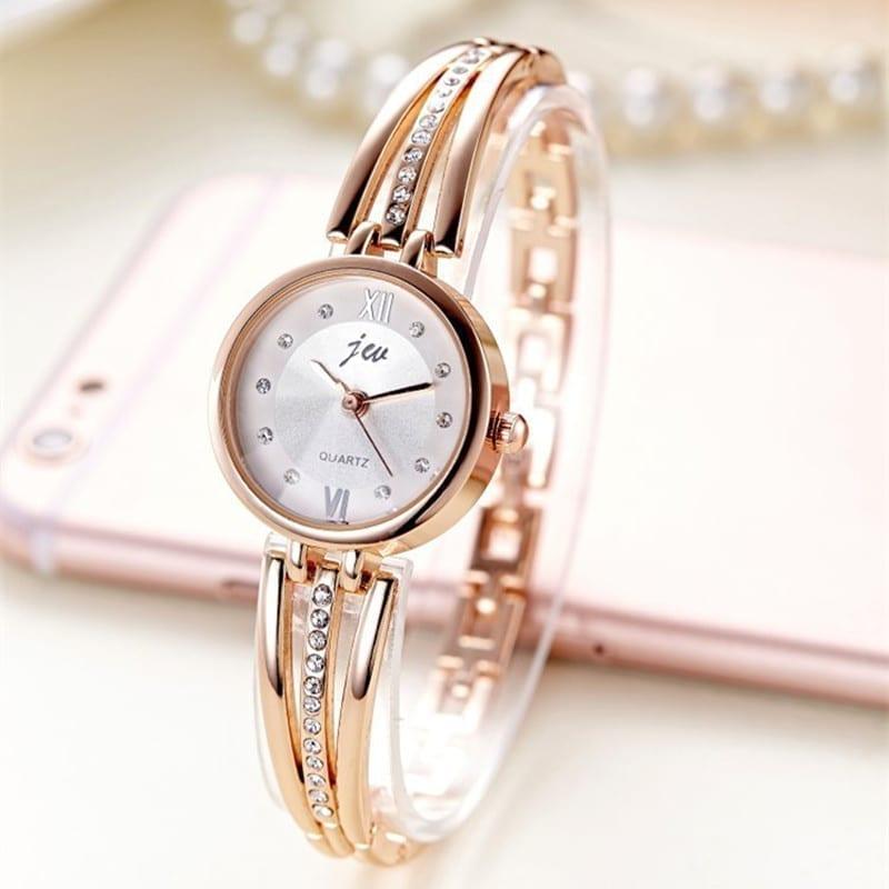Rhinestone Stainless Steel Bracelet Quartz Watch