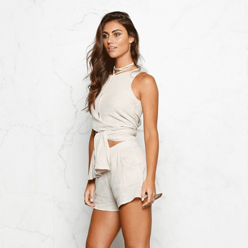 Cotton And Linen Sleeveless Two Pieces Set