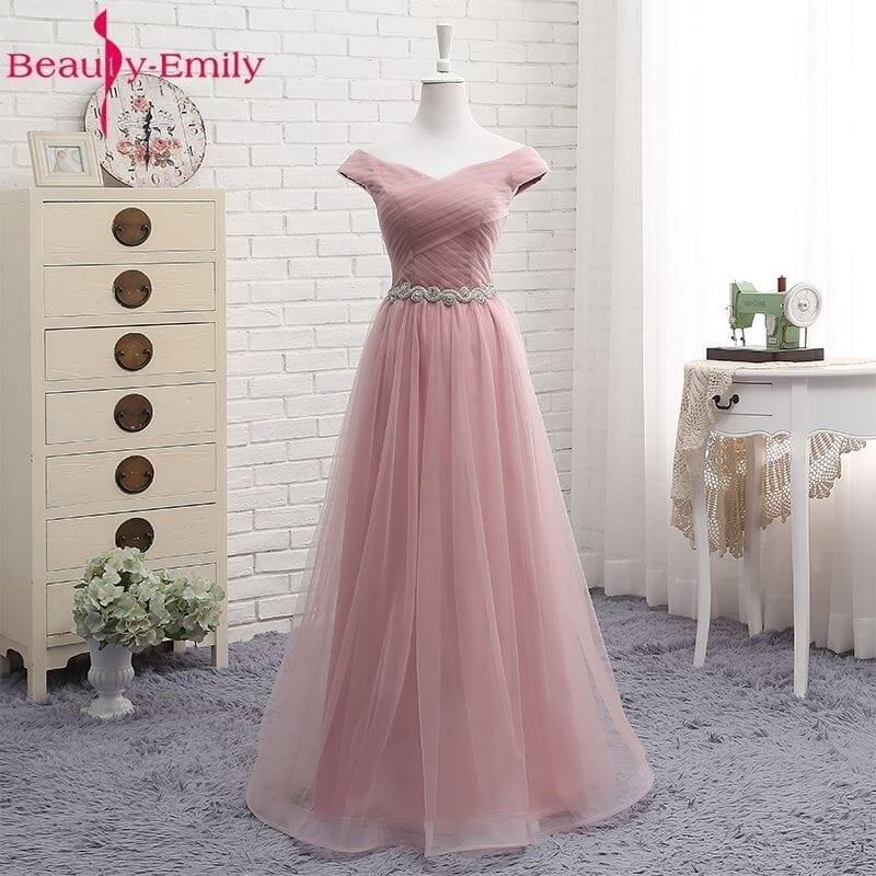 Pink V-neck Tulle Floor Length Bridesmaid Dress