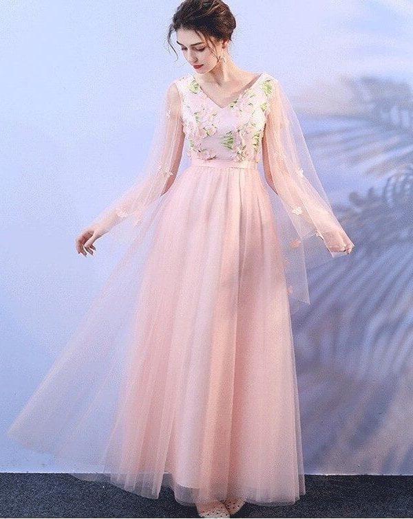 Pink Floral Appliques Floor Length Bridesmaid Dress