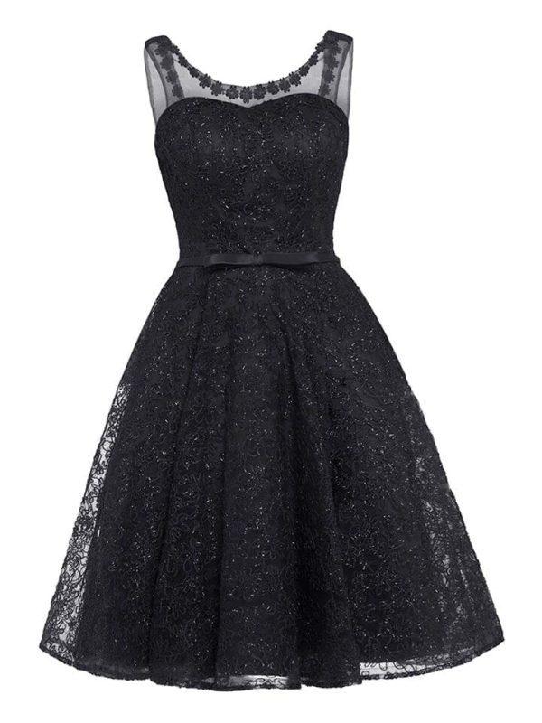 Elegant Appliques V-neck Sleeveless Short Cocktail Dress