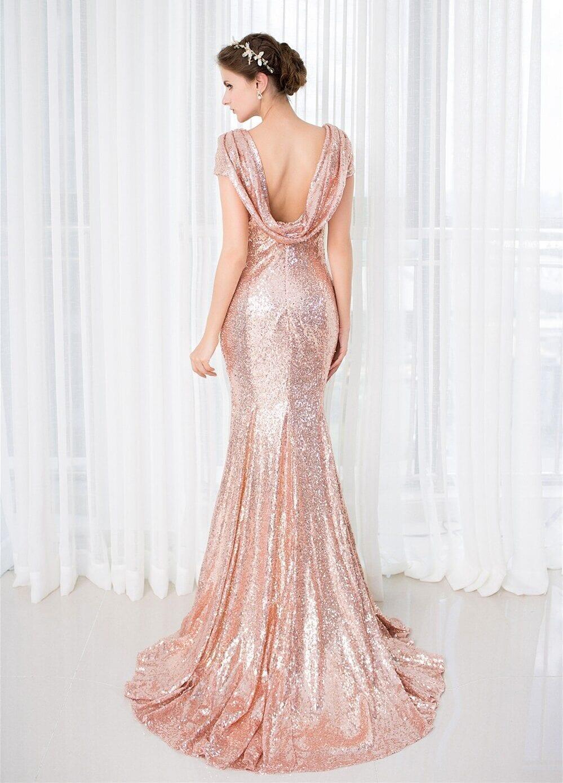 Elegant Rose Gold Sequin Short Sleeves Bridesmaid Dress