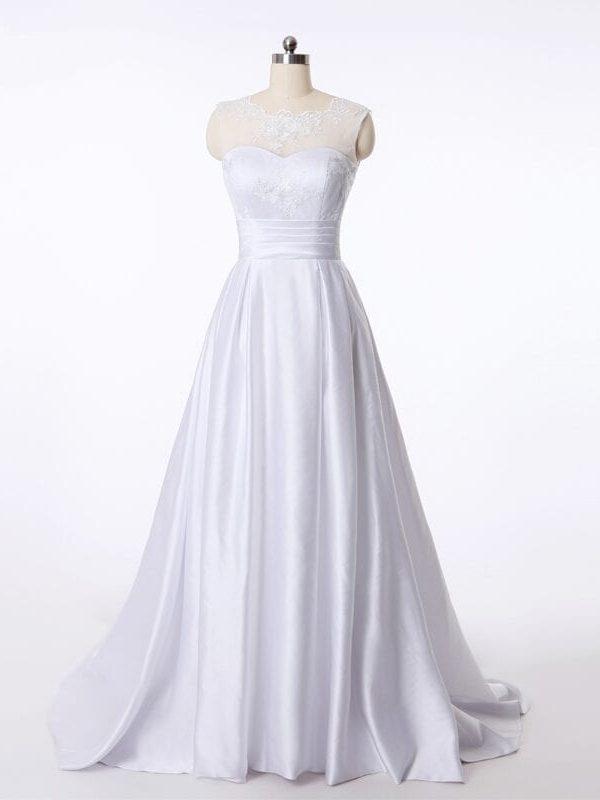 Elegant A-line Ivory White Satin Princess Wedding Dress