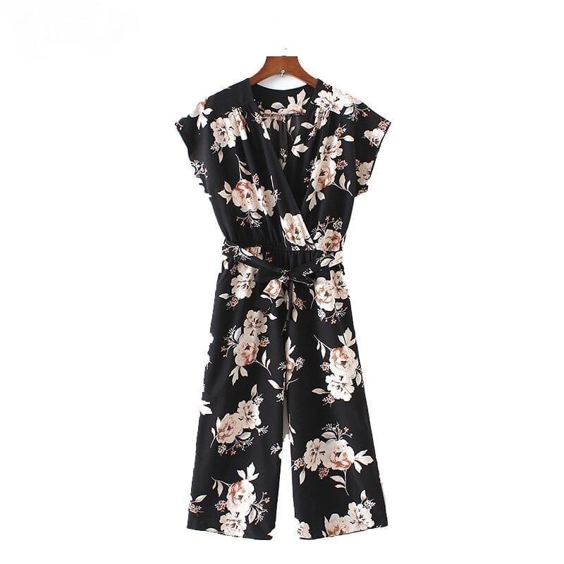 Vintage V Neck Floral Wide Leg Pants Sashes Pleated Elastic Waist Jumpsuit