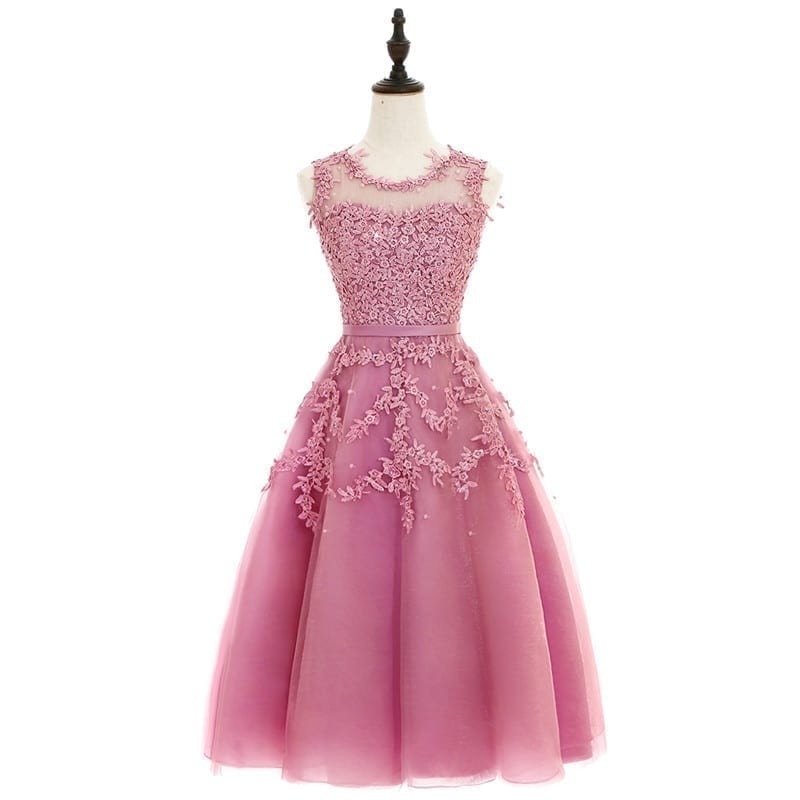 Pink Beaded Lace Appliques Short Knee Length Evening Bridesmaid Dress