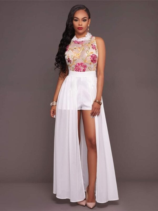 High Split Long Off Shoulder Floral Party Dress/jumpsuit