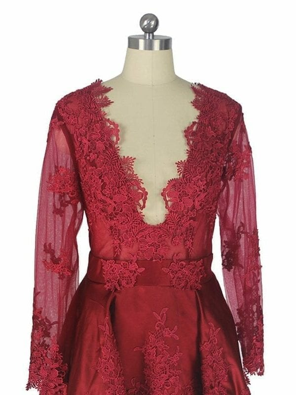 Elegant V-neck Lace Appliques Long Sleeves High Low Cocktail Dress