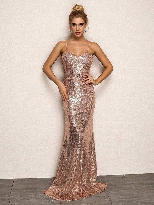 Elegant Deep V Gold Black Shinning Backless Bandage Bodycon Dress