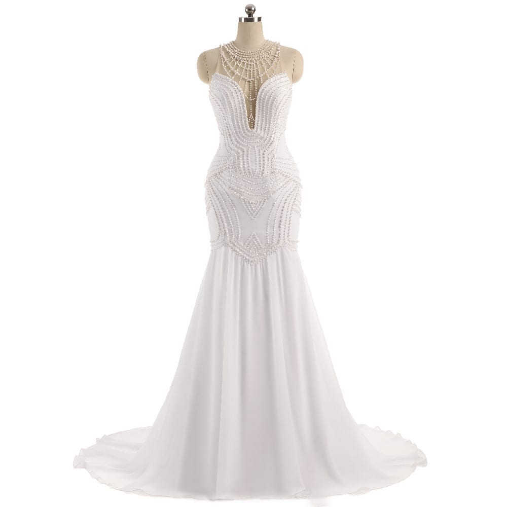 Sheer Neck Pearls Illusion Back Mermaid Wedding Dress