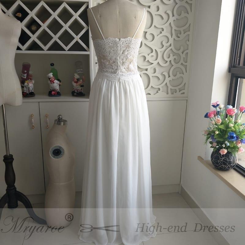 Spaghetti Straps Chiffon Boho Beach Wedding Dress