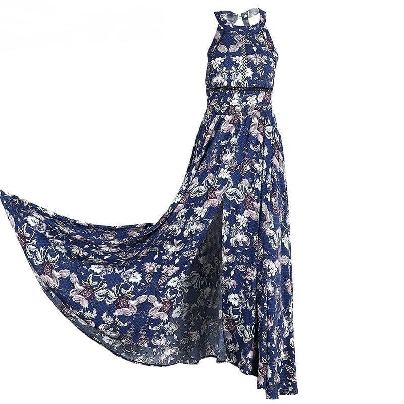 Floral Halter Neck Split Backless Maxi Dress