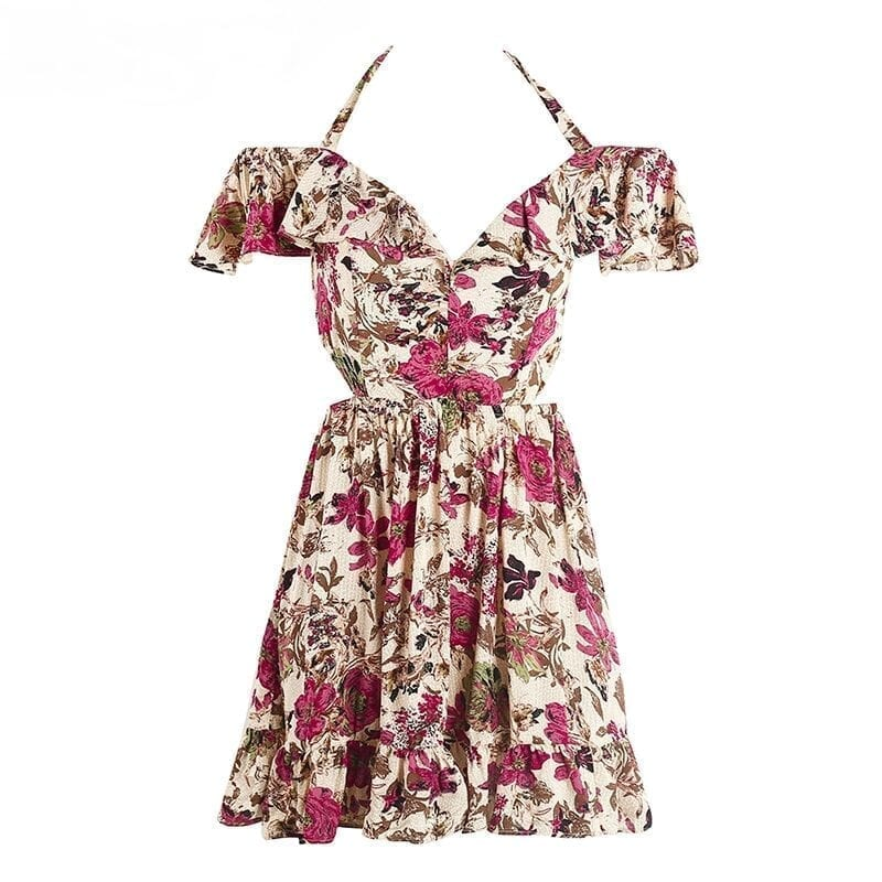 Hollow Out Halter Off Shoulder Floral Print High Waist Beach Dress