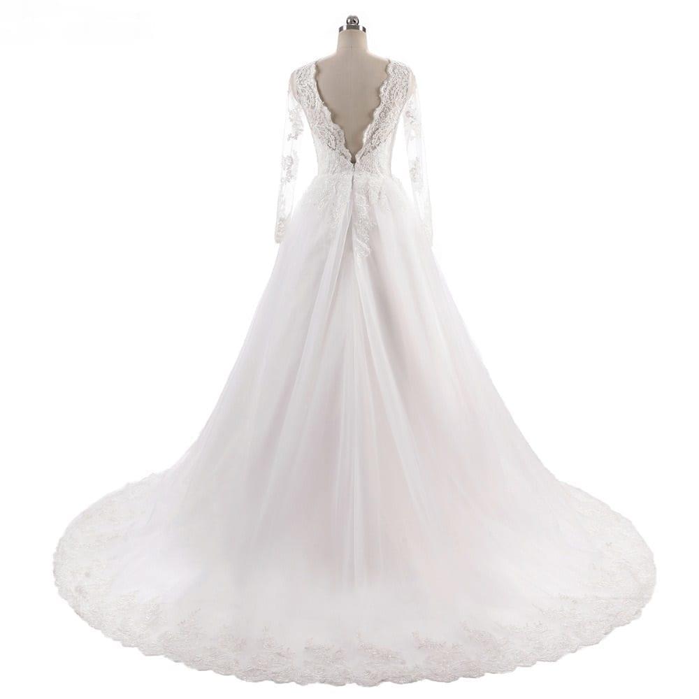 Vintage Long Sleeves Lace Elegant Wedding Dress