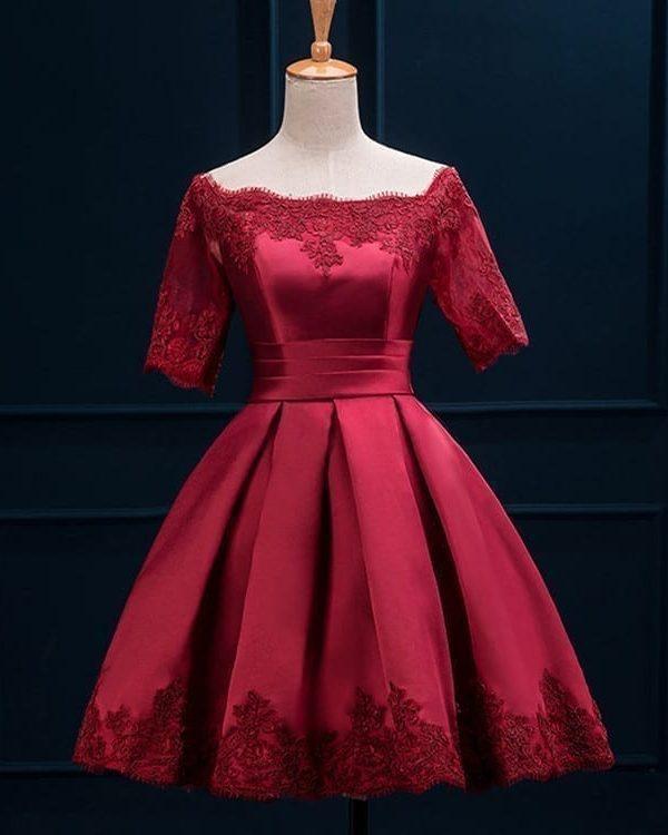 Off Shoulder Wine Red Short Bridesmaid Dress