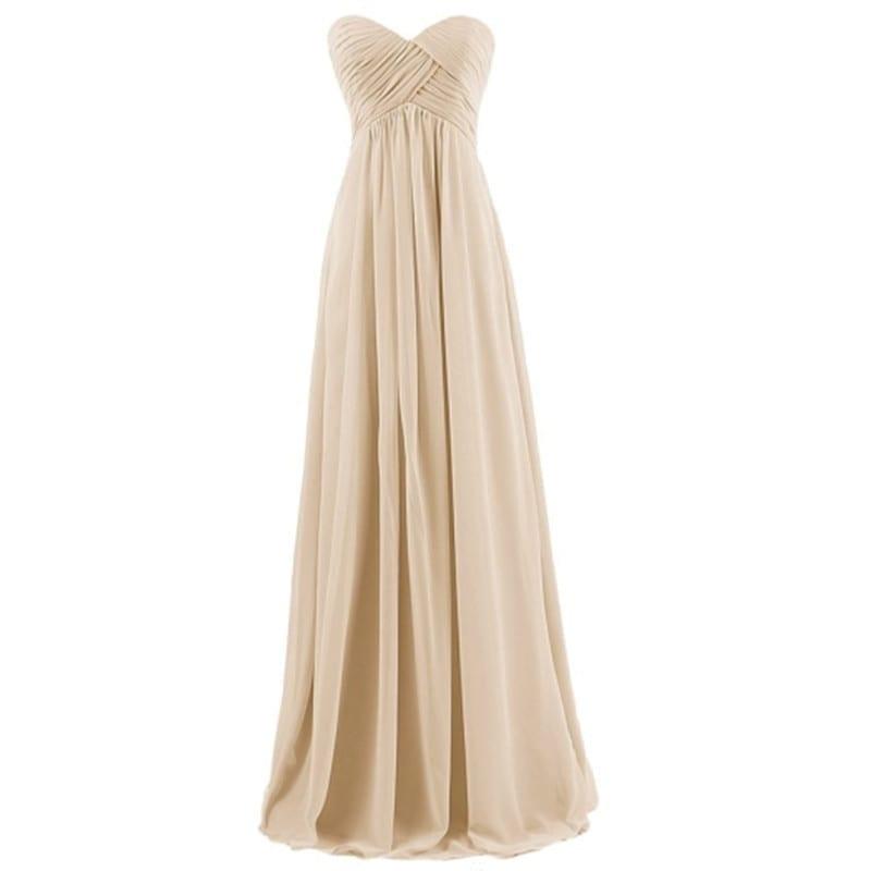 Strapless Pleat Pink Long Bridesmaid Dress