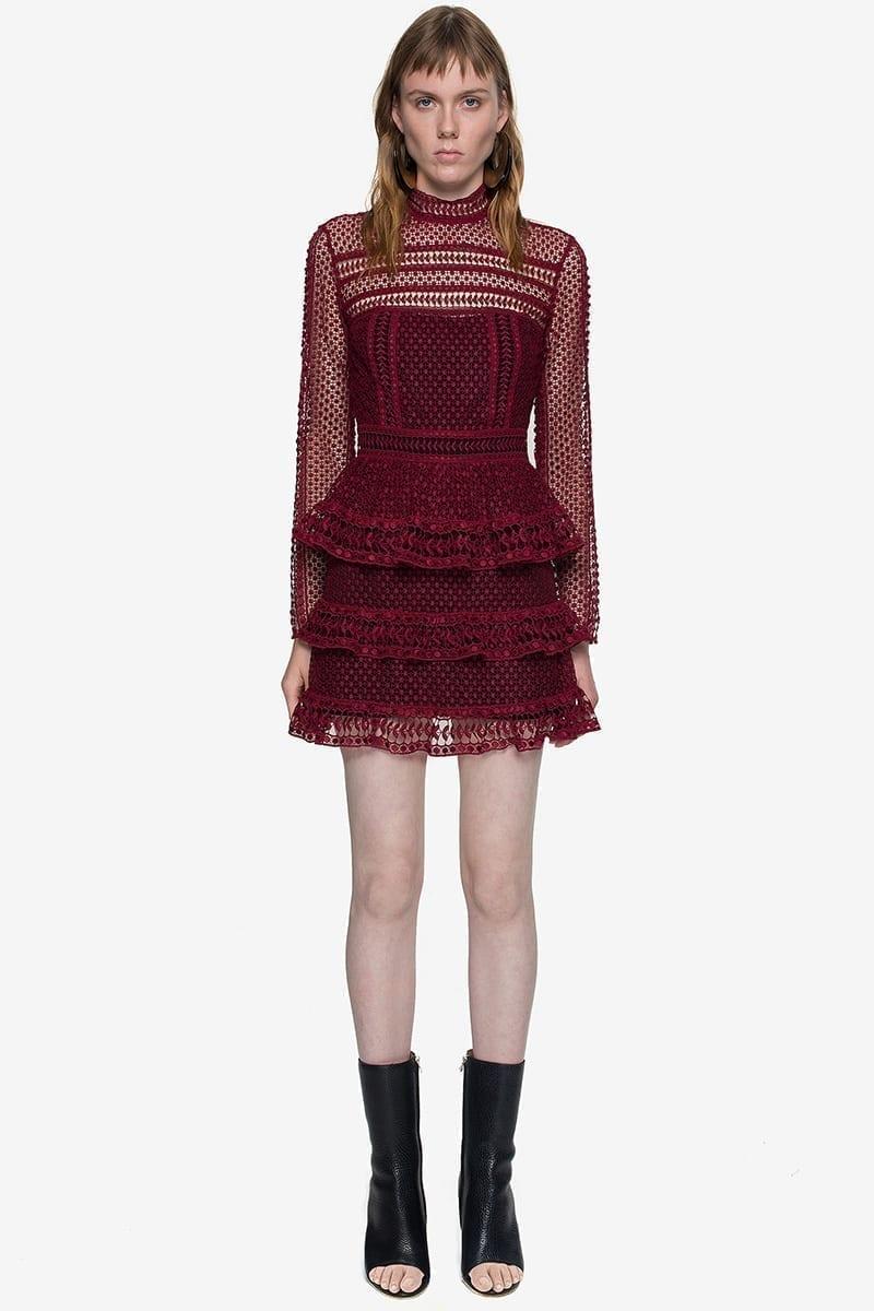 Red Black Turtleneck Lace Cutout Ruffle Dress