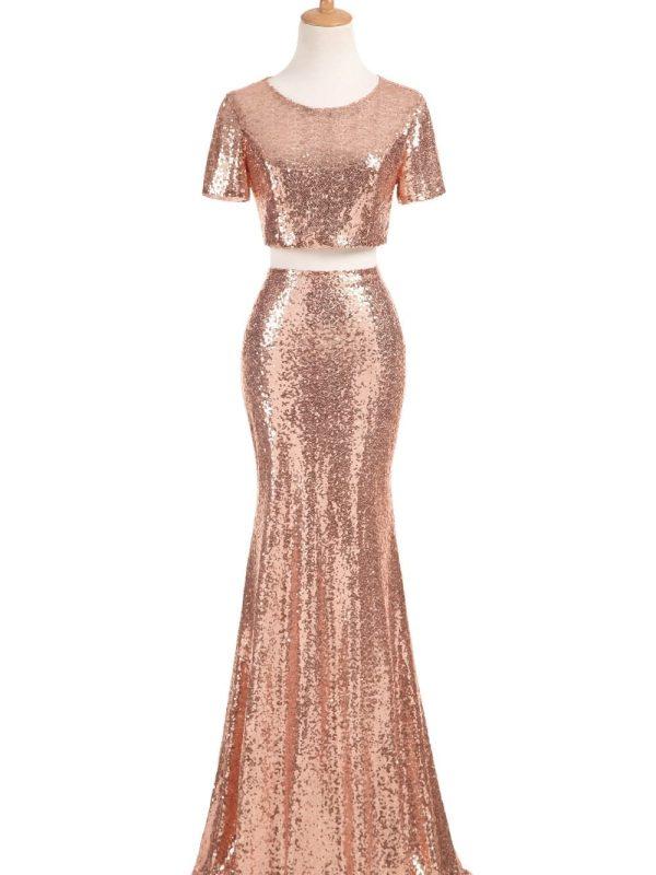 Rose Gold Long Sequins Bridesmaid Dress