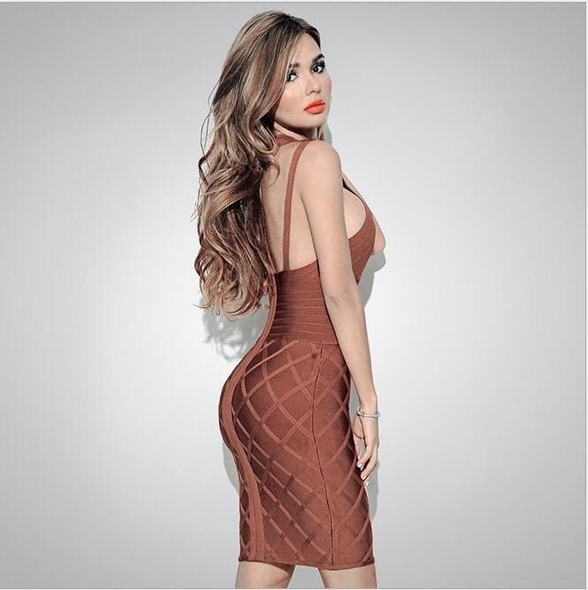 Elegant Hollow Out Bodycon Bandage Dress