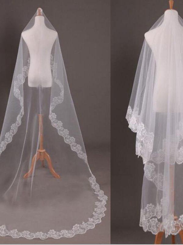Elegant Appliques Tulle 3 Meters Long Wedding Veil