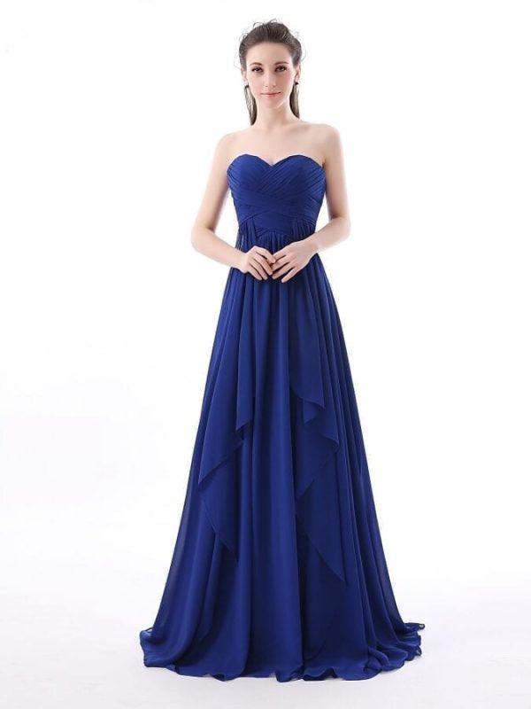 Royal Blue Chiffon Long Bridesmaid Dress