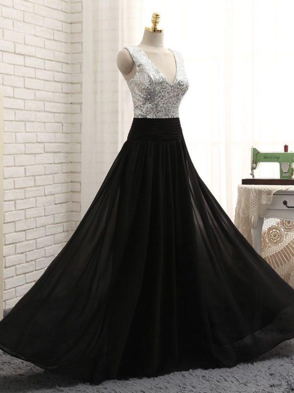 A-line Deep V-neck Black Chiffon Sequins Long Bridesmaid Dress