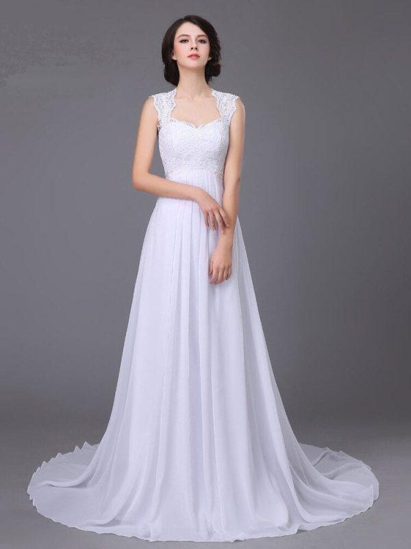 Sweetheart Lace A-line Chiffon Wedding Dress