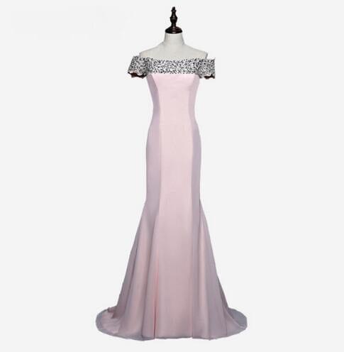 Cap Sleeves Satin Beaded Crystals Mermaid Bridesmaid Dress