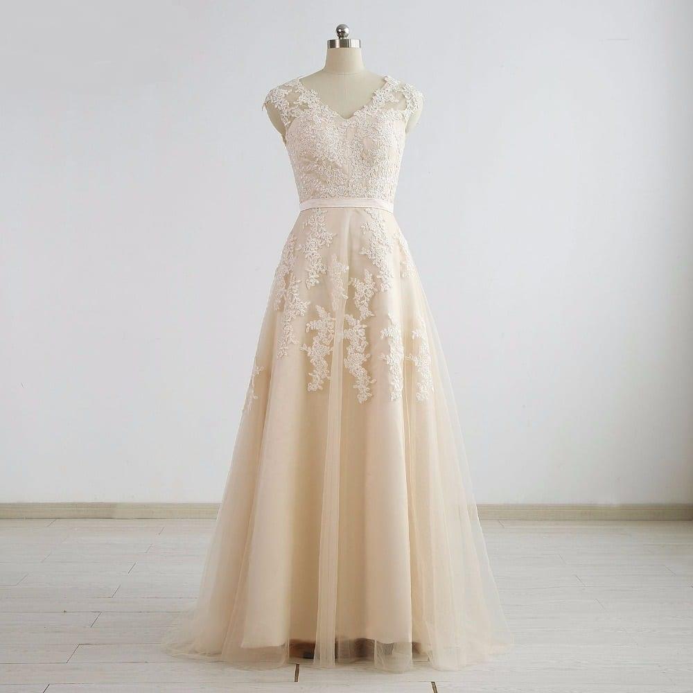 Champagne V-neck Applique Tulle A Line Wedding Dress