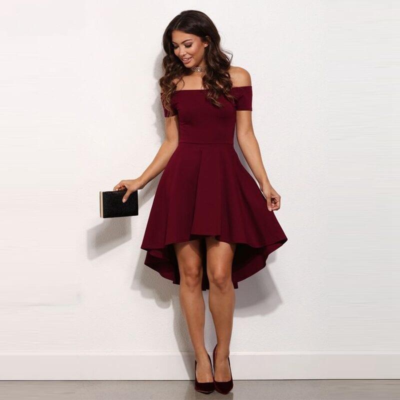 Burgundy High Low Bridesmaid Dress