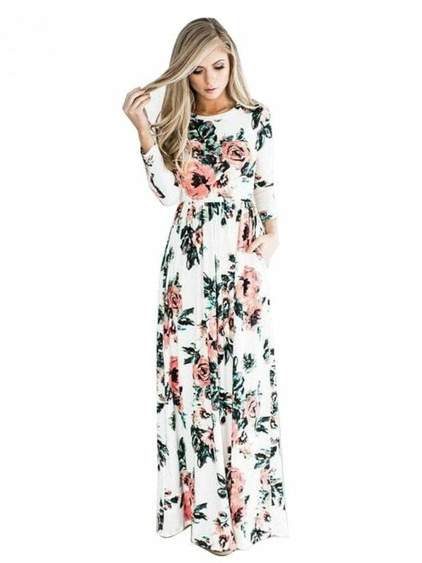 Floral Printed Three Quarter Sleeve Loose Maxi Boho Beach Dress