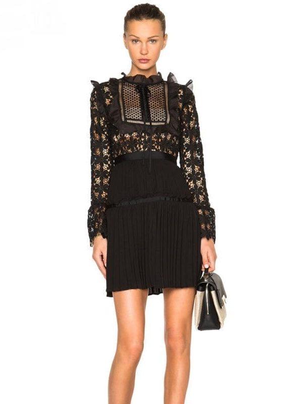 Lace Patchwork Vintage Design Flare Sleeve Mini Dress