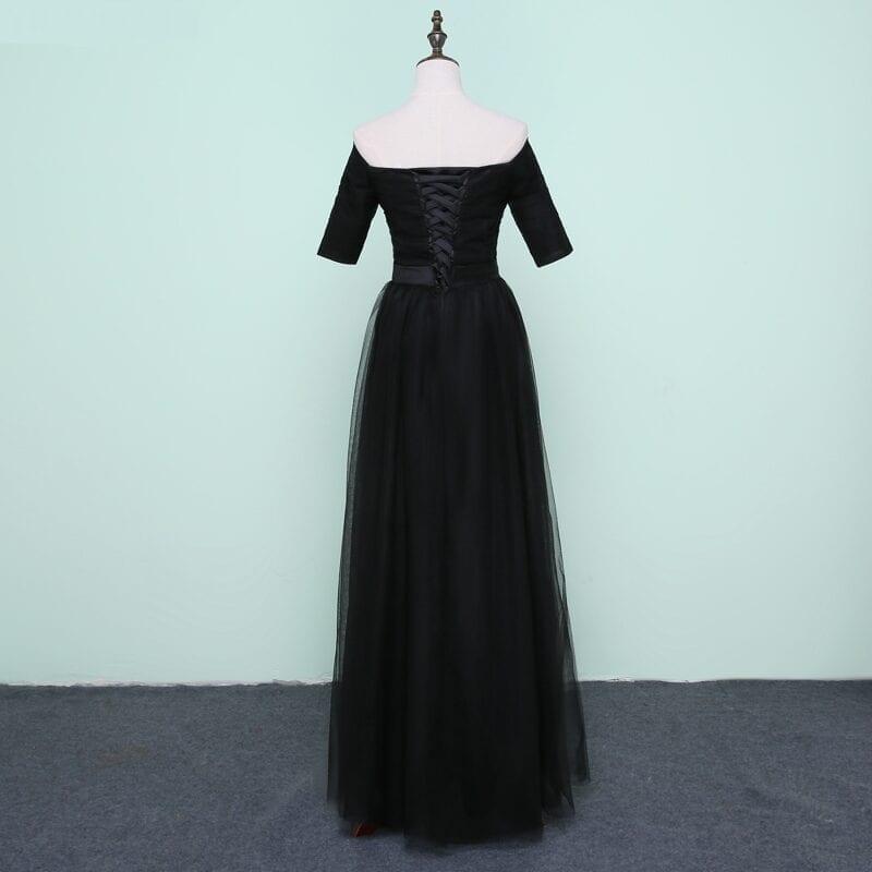 Black Tulle Sweetheart Half Sleeve Long Bridesmaid Dress
