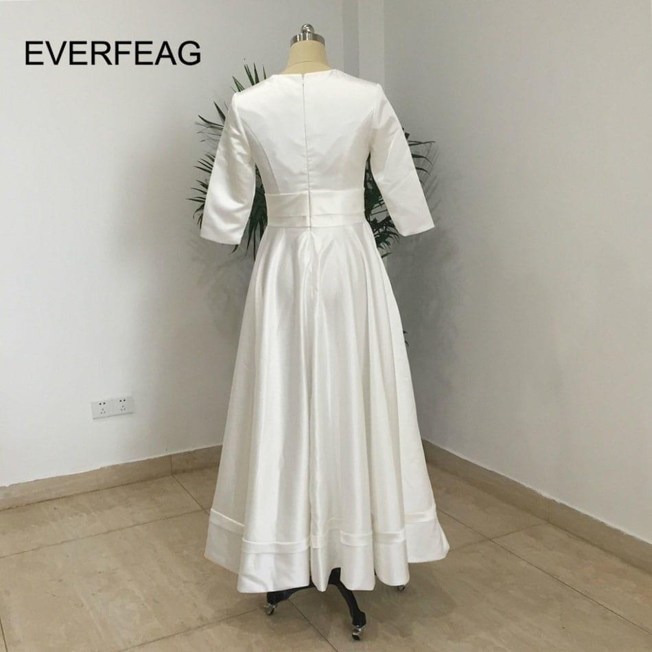 V-neck Half Sleeves Satin Short Wedding Dress