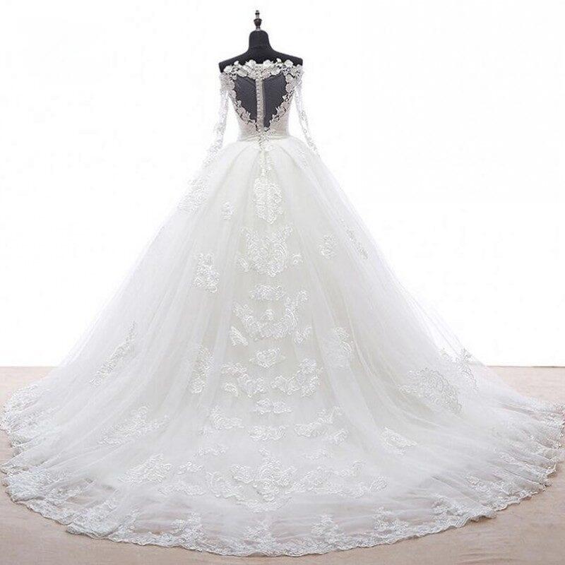 Romantic Long Sleeves Appliques Detachable Skirt Train Wedding Dress
